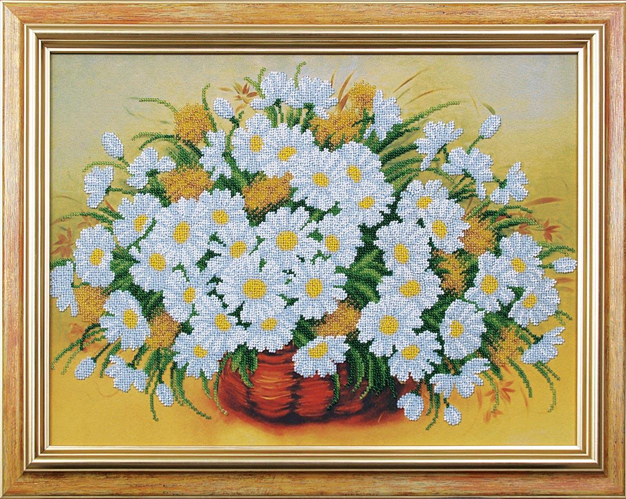 Магия канвы (производство: Украина) Цветы вышивание бисером 45х32 см уплотненная накатка с дизайнерским...