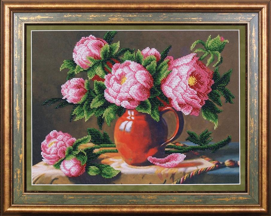 Розовые пионы Б-054, набор для вышивания бисером ТМ Магия Канвы - Сорочки наборы для вышивки крестом, бисером...